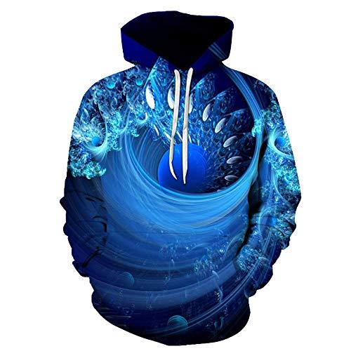 Kapuzenpullover,Wasserwirbel 3D Kordelzug Hoodie Herren Jugend Strickjacke Sport Jacke Cosplay Casual Trend Sweater Blau 3XL
