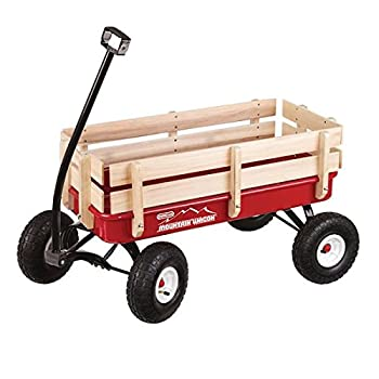 Duncan Mountain Wagon - Pull-Along Wagon for Kids with Wooden Panels All Terrain Tires Wide Grip Handle Wide Wheel Base