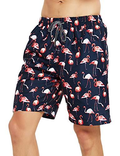 Mens Swim Trunks Flamingo Pattern Bathing Suits Quick Dry Swim Swimwear Hawaiian Wear Board Beach Water Swimsuit Trunks Boardshorts Drawstring Surf Summer Cool Funny Swim Shorts for Men Medium 32-34
