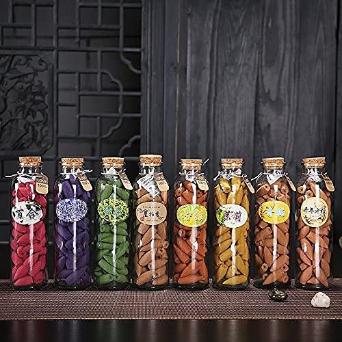 Gelazmín - Incienso de cono hecho a mano en botella de cristal, 6 minutos de combustión, diferentes fragancias a elegir, conos de 11 x 27 mm, 65 unidades