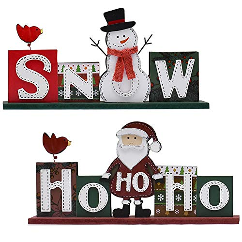 Attraction Design Christmas Wood Sign Decor Set of 2, Snow Sign and HOHOHO Christmas Decoration Santa and Snowman Sign Wooden Words Decor Rustic Decorative Sign Freestanding Tabletop Decor