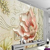 Ljjlm カスタム大規模壁画3Dレリーフ花フレスコテレビ背景壁壁紙パペルデパレデパラカルト-120X100Cm