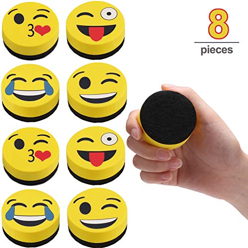 Whiteboard Eraser - Magnetic Dry Erase Eraser, Cute Smiley Magnetic Dry Erase Eraser, for Classroom Decor, Office Meeting - 8 Pieces