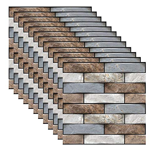 YlRNhe 12pcs 3D azulejos de pared para cocina o baño, pegatinas autoadhesivas para decoración del hogar, pegatinas para pared, panel de puerta, resistentes al agua (12 x 12) (ladrillo de simulación)