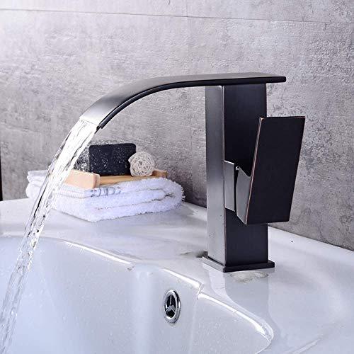 Fácil de Instalar Lavabo de Grifo de baño Lavabo sobre encimera Lavabo Debajo de encimera Cascada Alta Agua Caliente y fría Juego de grifos Antiguos Moderno Retro Cobre Negro Grifo (Tamaño: