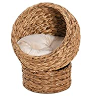 PawHut Woven Banana Leaf Elevated Cat Bed Wicker Kitten Basket Pet Den. House Cozy Cave with Soft Cu...