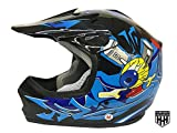 SmartDealsNow DOT Youth & Kids Helmet for Dirtbike ATV Motocross MX Offroad Motorcyle Street bike Flat Matte Black Helmet (Large, Black & Blue)