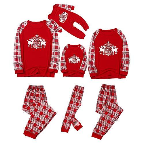 Fossen MuRope 2 Piezas Pijamas Navidad Familia Papá Mamá Niño Rojo Pijama Familiar a Juego,...