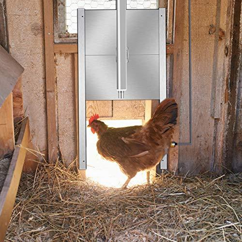KKTECT Puerta del gallinero Cierre Automático Automático ABS acero Inoxidable Control Remoto Puerta para aves de Corral con Temporizador Sensor de Luz para Aves, Pollos, Patos, Mascotas
