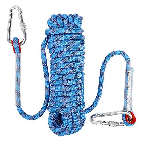 FT-SHOP Kletterseil Outdoor Sicherheitsseil mit Karabiner 10mm Nylon Statisches Seil für Wanderung Bergsteigen Höhlenforschung Rettungsausrüstung 10M