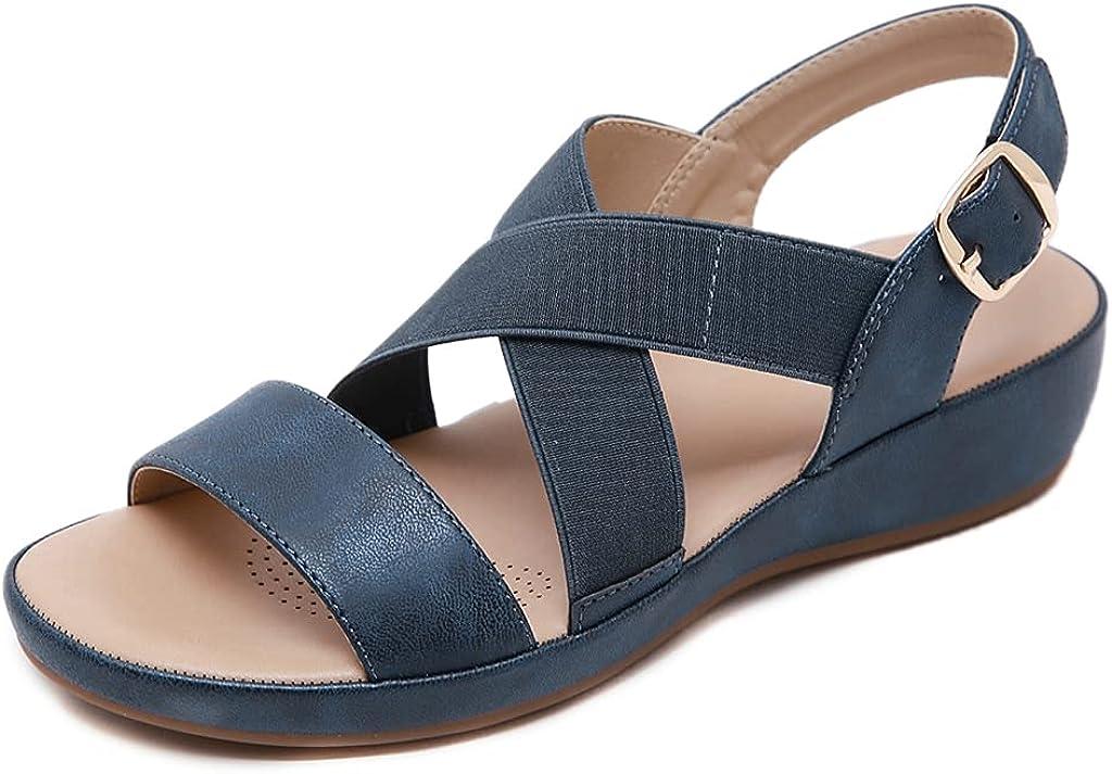 GCOCO Women's Comfort Platform Flat Sandals Superior Strap Elastic Ankle Popular products