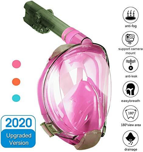 Numyton Schnorchelmaske Tauchmaske Vollgesichtsmaske mit 180° Sichtfeld und Kamerahaltung, Dichtung aus Silikon Anti-Fog und Anti-Leck Technologie für Erwachsene, S/M Rosa