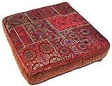 Guru-Shop Cojín Cuadrado Oriental de Patchwork de 50 cm, Cojín de Asiento, Cojín de Suelo con Relleno de Algodón - Rojo, Sintético, Asiento- Cojines de Suelo