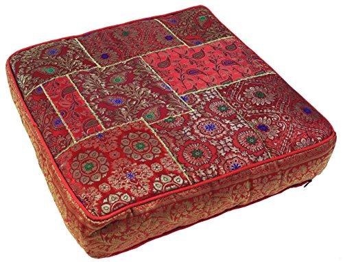 Guru-Shop Orientalisches Eckiges Patchwork Kissen 50 cm, Sitzkissen, Bodenkissen mit Baumwollfüllung - Rot, Synthetisch, Zierkissen, Dekokissen, Sofakissen