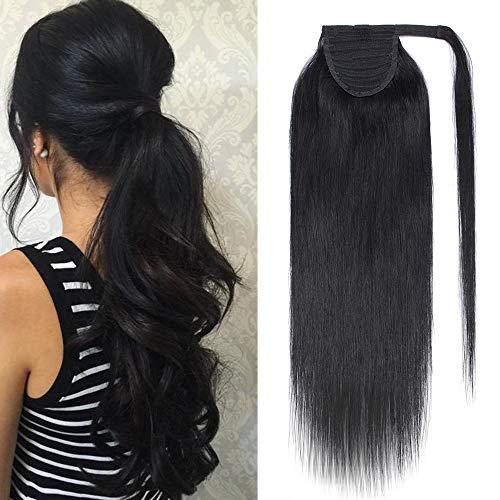 Queue de Cheval Cheveux Naturel Extension Rajout Vrai Cheveux Humain Lisse - Ponytail Hair Extensions Attaché par Bande Agrippantes Adhésives - #1 NOIR FONCE - 22 Pouce