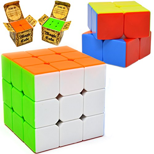 Speed Cube, 2 Pack Magic Cube 3x3 & 2x2; Puzzle Cube, Easy Turning; Sticker Free; Anti-Pop Structure and Durable for Professional Players, Christmas Stocking Stuffers