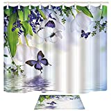 Shocur Floral Shower Curtain Set, Purple Butterfly and White Tulip Lake Water, Bathroom Decor Polyester Fabric 70 x 82 Inches Nature Theme Bath Curtain with 12 Hooks and Non-Slip 40 x 60cm Bath Rug