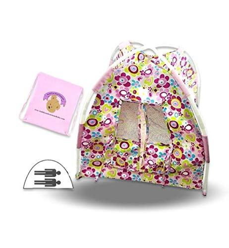 Build Your Bears Wardrobe Teddy Bear Clothes Floral Tent and Storage Bag fits Build a Bear (Pink)