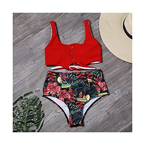 XBSXP Bikini con Estampado de Hojas Sexy para Mujer Traje de baño Push Up Traje de baño de Cintura Alta Traje de baño Ropa de Playa (Color: Flor roja, Talla: S)