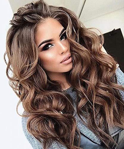 XXXVV Realistisch aussehende synthetische gewellte Haare Eisblonde Perücken mit dunklen Wurzeln Ombre Haarperücken Synthetische platinblonde Perücke Haarperücke 26 Zoll