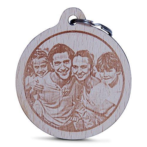 Wogenfels - Holz Schlüsselanhänger rund mit Fotogravur   Das Geburtstags-Geschenk mit individueller Gravur für Frauen und Männer   Personalisierter Schmuck   QUALITÄT und Support aus Österreich