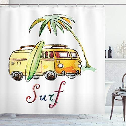 """Ambesonne Surfboard Shower Curtain, Hand Drawn Surfing Car Summertime Seaside Traveling Vehicle Palm Tree Vacation, Cloth Fabric Bathroom Decor Set with Hooks, 70"""" Long, Soft Orange"""