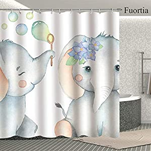 Fuortia Elephants Shower Curtain Grey Elephants Babies Blowing Bubbles Bathroom Curtain Sets Watercolour Cute Fabric Shower Curtain with Hooks Animal Bathroom Decoration for Kids 70x70 Inches