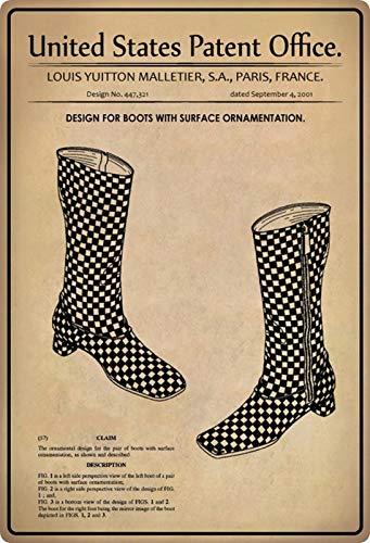 Metalen bord 20x30cm patent laarzen met versiering 2001 bord Tin Sign