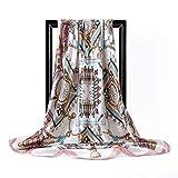 YUNYUN Pañuelo de Seda Cuadrado Rosa Grande, pañuelo para Fular para Mujer, Seda de satén para Mujer, Marca de Lujo, Bufandas de 90 * 90 cm, Estilos únicos, Hijab-Multi, Talla única
