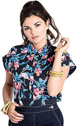 Hell Bunny Damen Oberteil Florida Flamingo Bluse (XS, Schwarz mit rosa-blau)