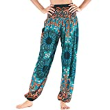Nuofengkudu Mujer Hippie Thai Algodón Harem Pantalones con Bolsillo Boho Estampados Sueltos Pantalón Cintura Alta Indios Yoga Pants Pijama Verano Playa(Verde Flor,Talla única)