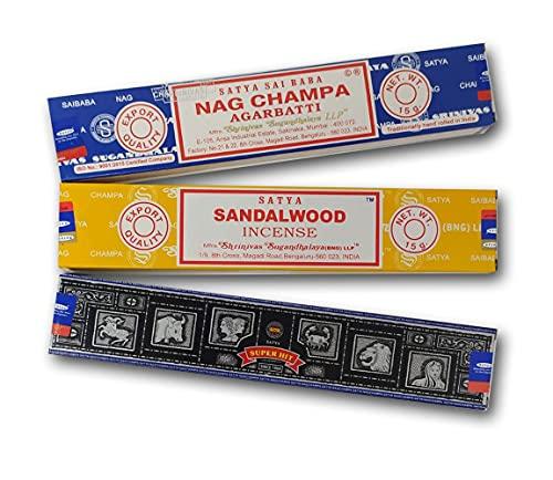Lot d'encens aromatique x 3 - Satya SuperHit + Nag Champa + Santal - Encens naturel aromathérapie - Bâtonnets d'encens - 3 boîtes de 15 g.