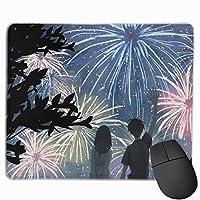 マウスパッド 初恋 花火大会 Mousepad ミニ 小さい おしゃれ 耐久性が良 滑り止めゴム底 表面 防水 コンピューターオフィス ゲーミング 25 x 30cm