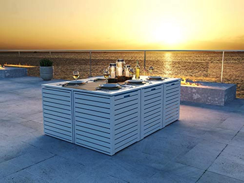 ARTELIA - RN-2 Modularwürfelset Gartenmbel Essgruppe Aluminium - Luxus Esstisch Set für Garten, Terrasse Gartenmbelset Wei