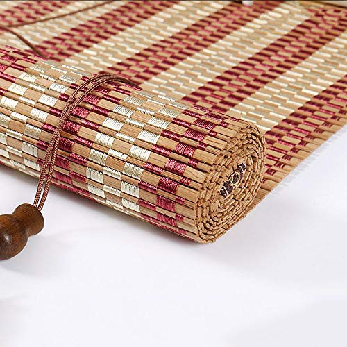 YIRC Window Blinds Outdoor Indoor Bamboo Roller Blinds Sun Shade Roll Up Blinds Retro Curtains with Lifter (160x200cm/63x79in)
