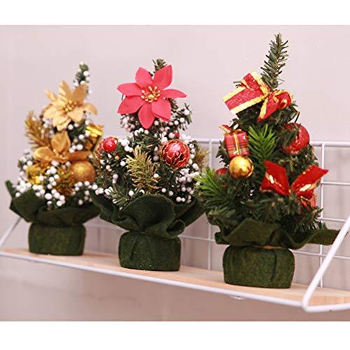 BESTOYARD 3pcs Tabletop Mini Christmas Trees with Christmas Ball Christmas Flower Poinsettias Ornaments Decorations (Random)