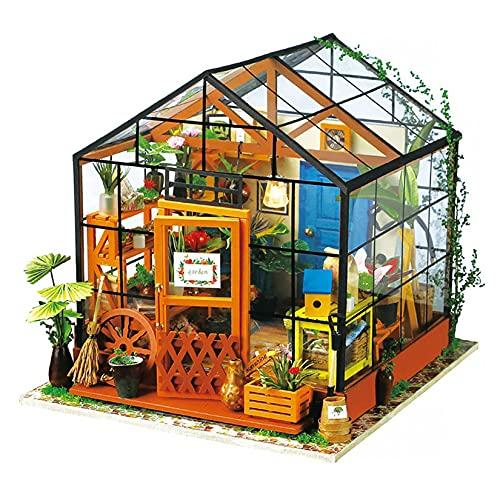 Robotime Puppenhaus DIY Gewächshaus Holz Zubehör - Miniatur Möbel Bausatz- Mini-Raum für Erwachsene und Kinder - Geburtstags Mädchen und Jungen…