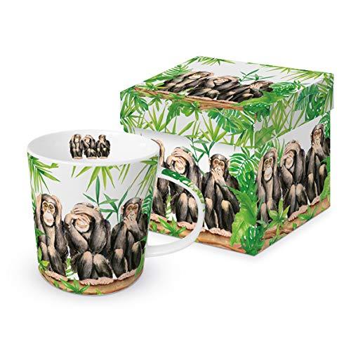 Paperproduct Design Kaffeebecher 3 Affen mit Geschenkbox, Tasse Tiere Tier Geschenkset, Schimpansen