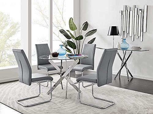 Kkcd Rundtisch mit modernen Glasmetallstuhlbeine 4,Dining Table 4 Elephant Grey Lorenzo Chairs