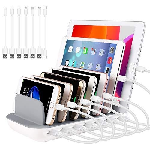 PRITEK USB Ladestation 60W/12A 7 Anschlüsse Desktop Ladestation für Mehrere Geräte mit 6 Ai USB Anschlüssen + 1 USB-C Anschluss mit 7pcs Kurz USB-Kabel (weiß)