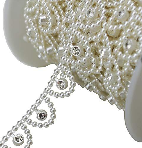 10m 3/5'Ancho Hoja de Marfil Pearl Rhinestone cadena Sew en vestido de novia adornos decoracin lz109