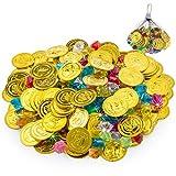 FORMIZON 100pcs Pirate Pièces d'or et 100pcs Bijoux de Pierres Précieuses de Pirate Faux Jouer des Pièces de Trésor Set pour Faveur de Fête
