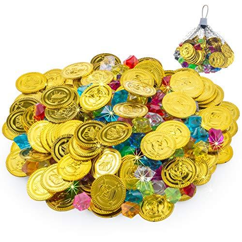 FORMIZON 100 Piezas de Monedas Doradas de Plástico de Pirata, 105 Piezas de Gemas Piratas, Monedas de Oro y Gemas Piratas del Tesoro Pirata para Fiestas Temáticas Piratas