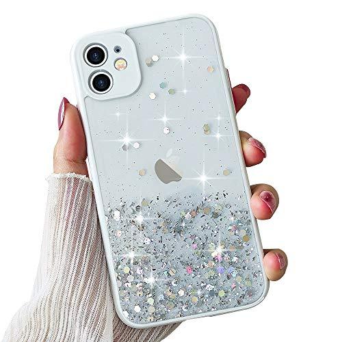 ROSEHUI Funda para iPhone 12 de lujo con lentejuelas brillantes, transparente, degradado de color suave, de silicona TPU, antigolpes, compatible con iPhone 12, color blanco