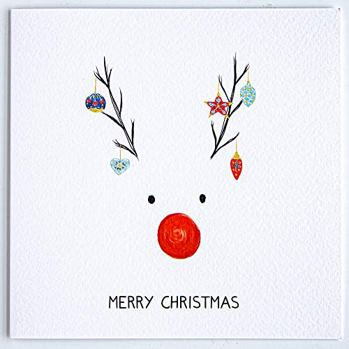 Rudolph Christmas Greeting Card with Envelope - Rudolph Reindeer Christmas Design by The Doodle Factory
