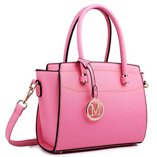 Miss Lulu Damen Klassische Geflügelt Handtasche Winged Schultertasche Klein Taschen, 1625 Pink,
