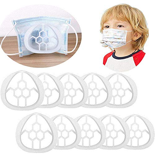 Face Mask Inner adjustable Support Frame Homemade Cloth Mask Cool Silicone Bracket More Space for Comfortable Breathing Washable Reusable (Children's 10pcs)