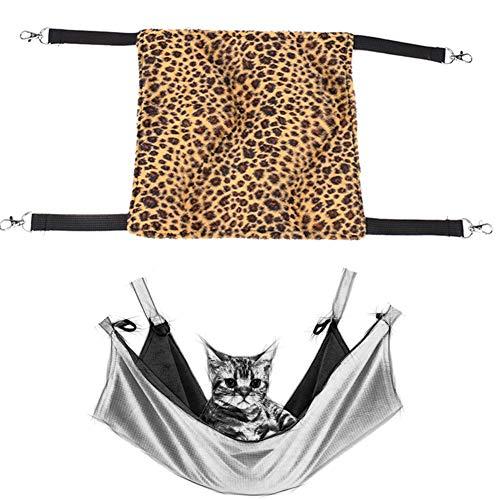 shuxuanltd Cama Conejo Hamaca Gato Hurón hamacas Jaula para Hamster, Accesorios Gato Jaula de Ratas Accesorios Hámster Hamaca Guinea Cerdo casa Leopard Print,X-Small