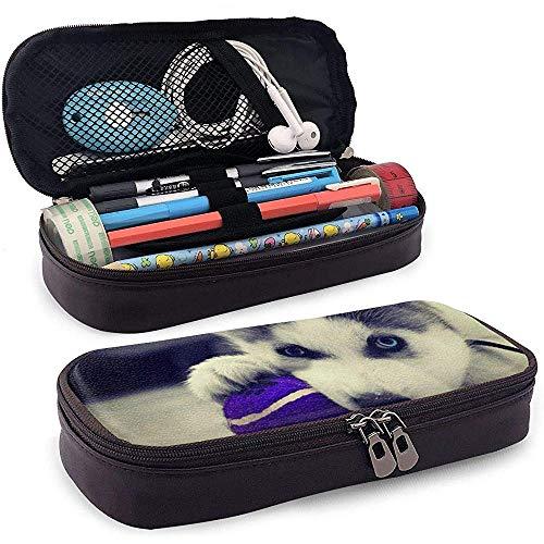 Étui à crayons en cuir Puppy Husky, trousse de maquillage de voyage, boîte à étuis