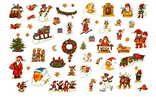 Geroma Fensterbild Set 52 teilig | Schneemann Weihnachtsmann Sterne Zug Mond | Fenstersticker Weihnachten Fensterdeko Weihnachtsdeko Winterdeko